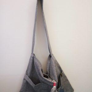Kinderwagentasche- blau-weiss